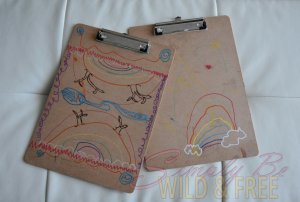 Clipboards decorated by kids