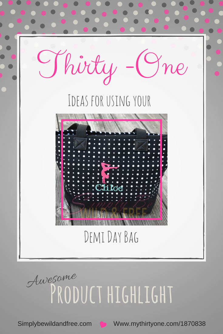 Thirty-One   Demi Day Bag great for littles, a busy bag, or just a fun handbag for the mom that's always on the go. #thirtyone #organize #bags #kids #sports #mom #carry #travel