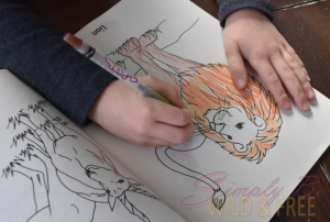 Coloring is perfect free time activity for young homeschoolers