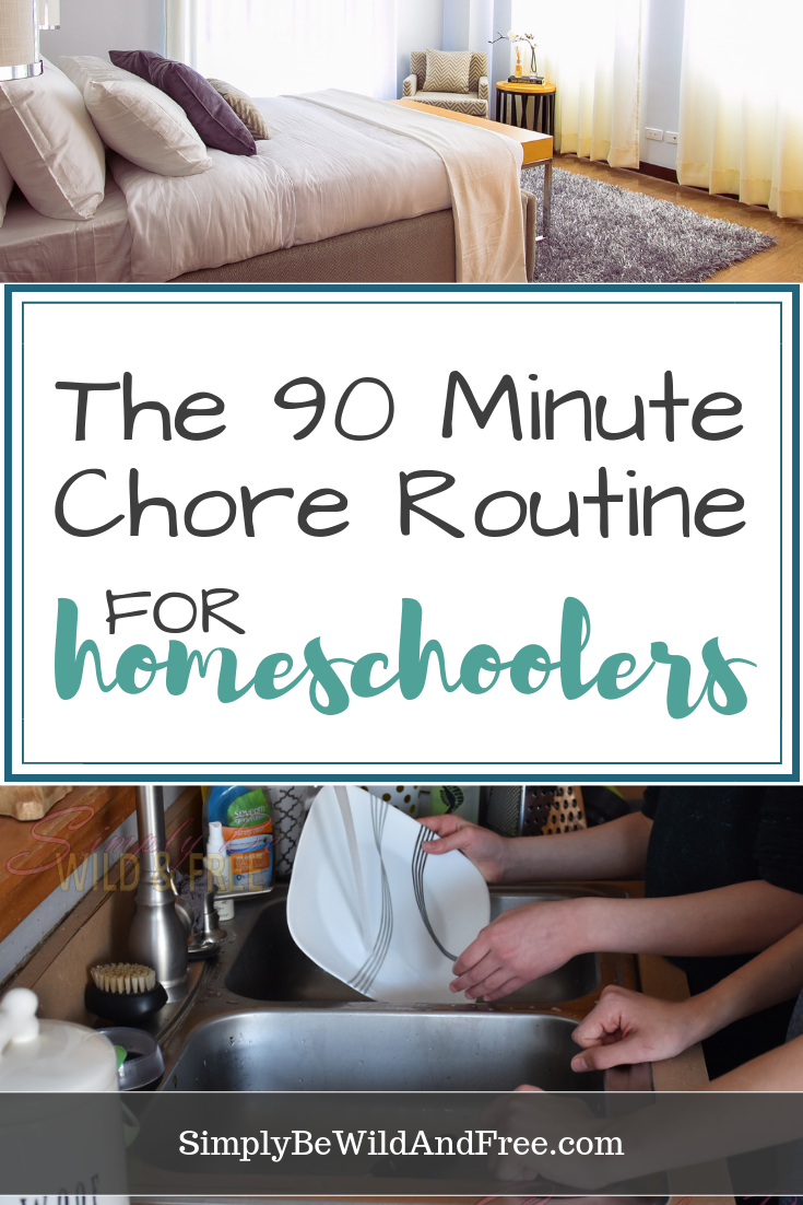 The 90 minute chore routine for homeschoolers! Simple tips on how to encourage your children to keep up with their household chores during the school day with block scheduling. Want a happy, clean, and organized living space? Figuring out a schedule that works for you and your family is key! Teach your kids responsibility in a simple fashion for only 90 minutes (or less) each day. #homeschool #chores #kids #clean #organized