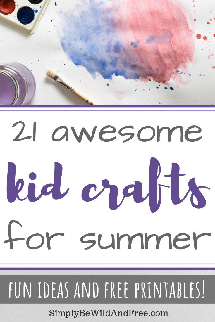 21 Summer crafts to do with your kids this year! These simple kid crafts are both fun and unique! Find simple summer activities for your kids to do indoors or outside! Crafts for preschool, older kids, and even some fun for mom! Simple crafts and easy crafts for spring or summertime. Sunshine craft, watermelon craft, button art, father\'s day craft, flag craft, turtle craft, bird feeder craft, rainbow craft, butterfly craft and more!! #kidcrafts #summer #activities