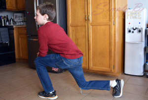 Squats, lunges, and stretches can be done just about anywhere, even in the kitchen