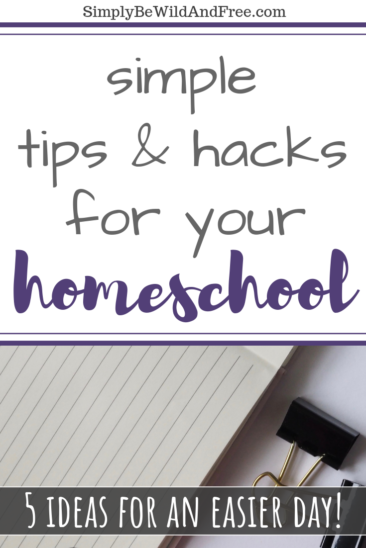 Looking for simple homeschool hacks that will help your day go smoother from the start? These 5 easy tips can easily be incorporated into anyone\'s homeschool day. Homeschool preschool, middle school, and high school with ease! Find creative uses for binder clips, 2 way radios, and bins. Get tips on how to library-school the right way, and find the tools to help you do it! All the very best tips from a homeschool mom of three. #homeschool #mom #hacks #tips #homeschooling