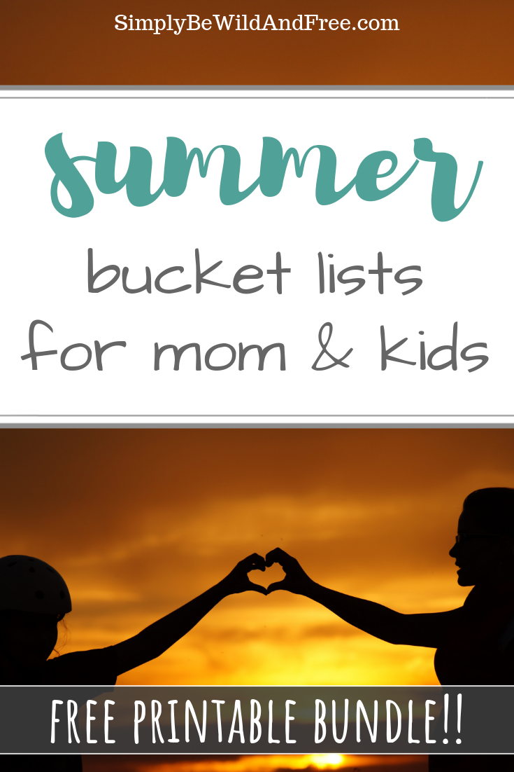 Summer bucket lists for preschool, grade school, middle school, and for mom! Say what?! Check out this amazing free printable pack of bucket lists for the entire family! These lists include great age appropriate summer activies for all the kids in your home. Perfect for homeschool kids and kids home on summer break. #bucketlist #summer #activities #fun #goals #list #enjoy #family #life #kids #homeschool #bored #boredombuster #challenge