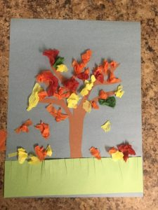 Fall tree craft using construction paper and tissue paper