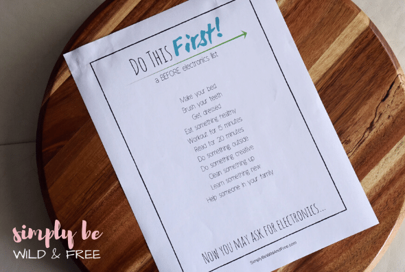Free Do This Before Electronics Printable for Kids