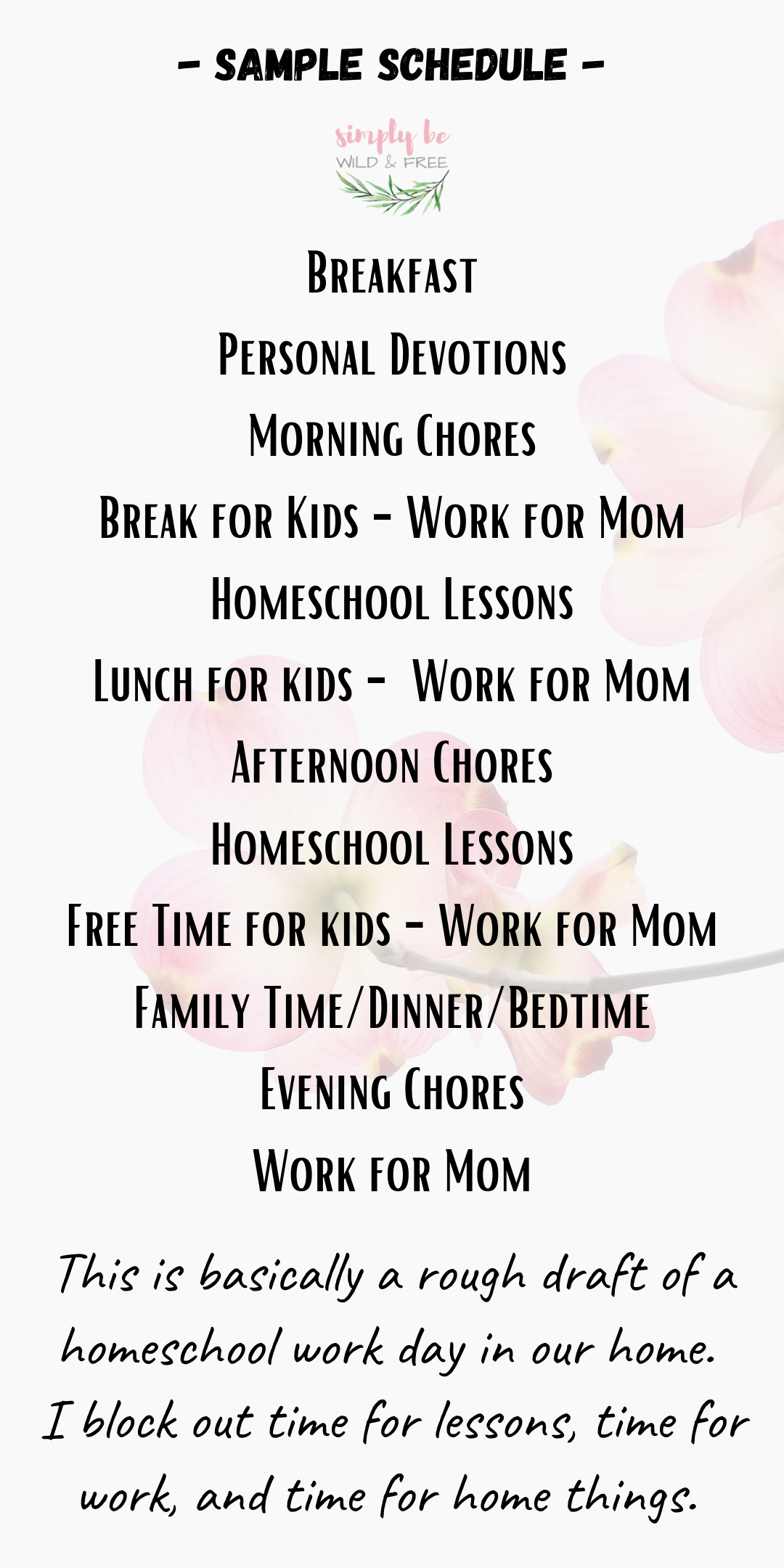Sample Work from Home and Homeschool Schedule